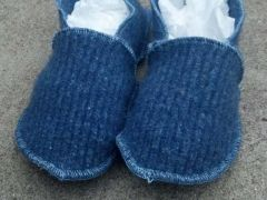 Blue Felted Wool Slippers