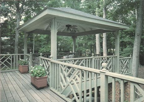Deck And Gazebo With Chinese Chippendale Design Railing