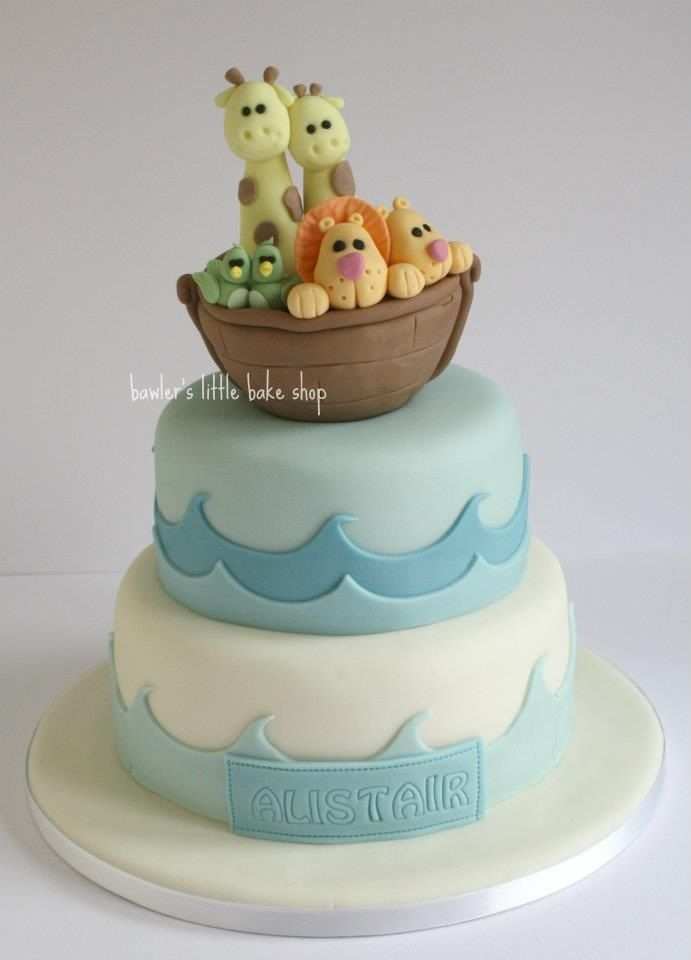 Noah's arc christening cake