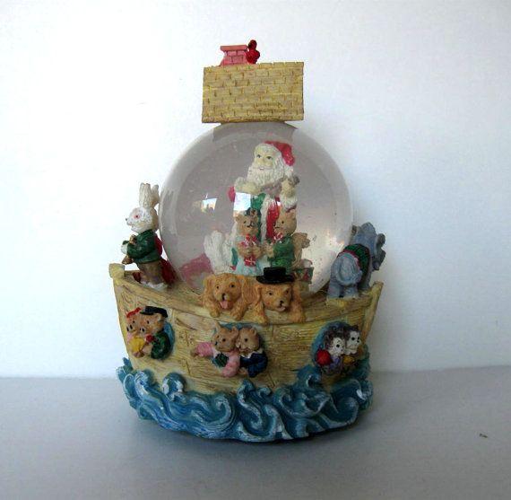 "Vintage muzikale sneeuwbol van de Kerstman, ""Joy to the World"", Kerstdecoratie…"