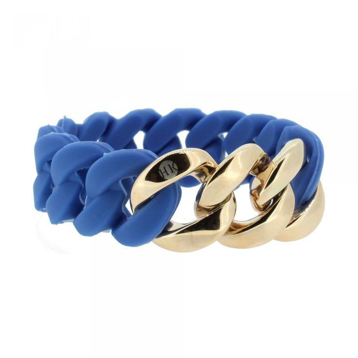 HANSE-KLUNKER ORIGINAL Damen Armband  cooler Panzerketten-Look  verbindet gekonnt zwei Dinge: ein sportliches Silikonarmband in der eindrucksvollen Trendfarbe Blau sowie ein poliertes Edelstahl-Glanzstück in Roségold  &nbsp