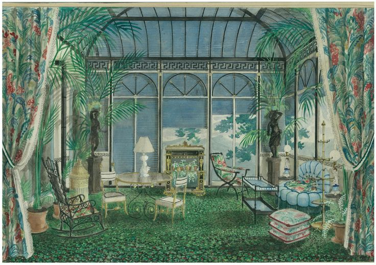 Alexandre Serebriakoff's rendering of a Madelaine Castaing room.