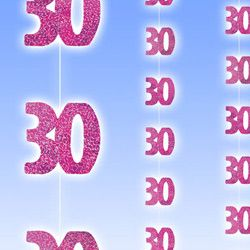 M55324 - 30th Birthday Strings - Pack of 6 Strings Happy 30th Birthday Glitz Pink 6 x 1.5m strings of pink glitter 30th's - Pack of 6. Please note: approx. 14 day delivery