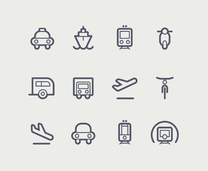 Transportation icons on Behance