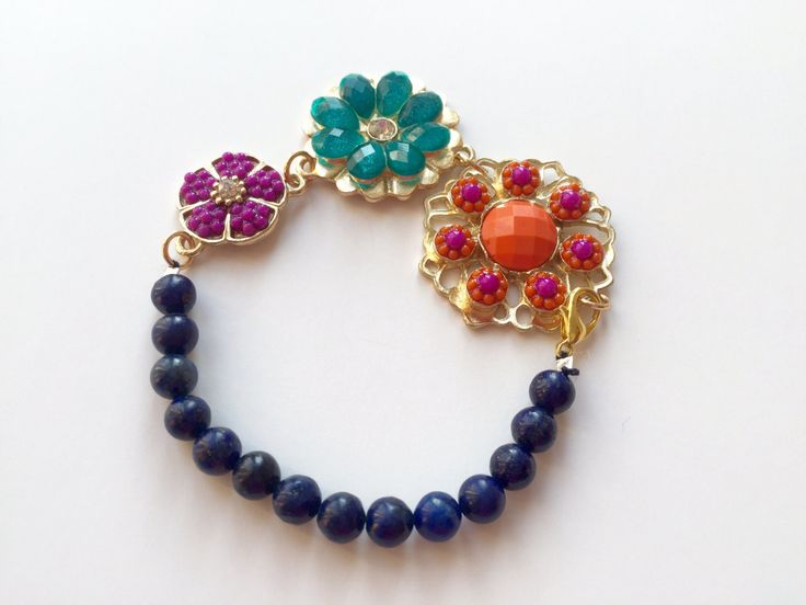 Bracelet made of Navy Blue Lapis Lazuli and Flowers Charms, Unique Jewellery by BarbarittasBoutique on Etsy