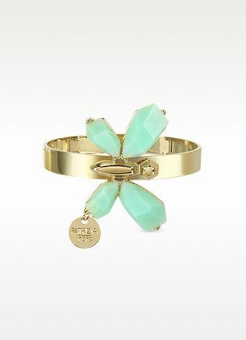 Patrizia Pepe Precious Fly Golden and Light Green Bangle Bracelet