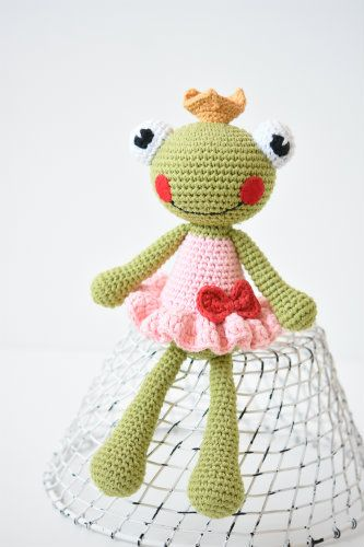 Princess the Frog is as a little girls dream stepped out of a fairy tale. She is wearing the golden crown, pink ruffled dress embellished with a cute bow. Made using soft mixtures of cotton. Suitable for babies as well. Unique author piece!