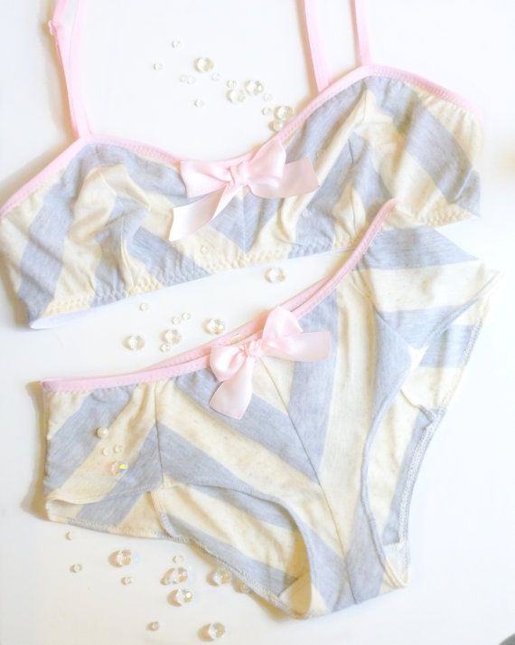 Chevron Bra and Panties Set  in Pink Grey & Ivory Made by ohhhlulu