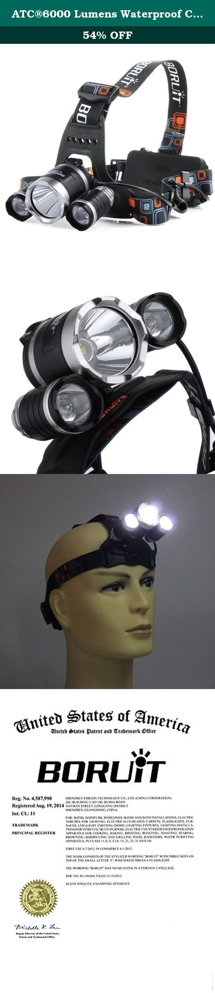 ATC®6000 Lumens Waterproof CREE XM-L T6 + 2 R5 LED Headlamp Torch Headlight + 2 Charger. Specifications: CREE LED Headlamp Model of LED: 3x CREE XM-L T6+2x XPG-R5 LED Model of Battery required: 2x 18650 3.7v (Battery no included in the package) Color: Black Dimension : 83 x 37 x 58mm Weight : 219g Headlamp Specification: Aluminum outer shell, high strength ,strong structure. 3* Led bulbs, Super brightness and durable Working Voltage: 3.6~4.2 V ,Light is very evenly spread in a flood…