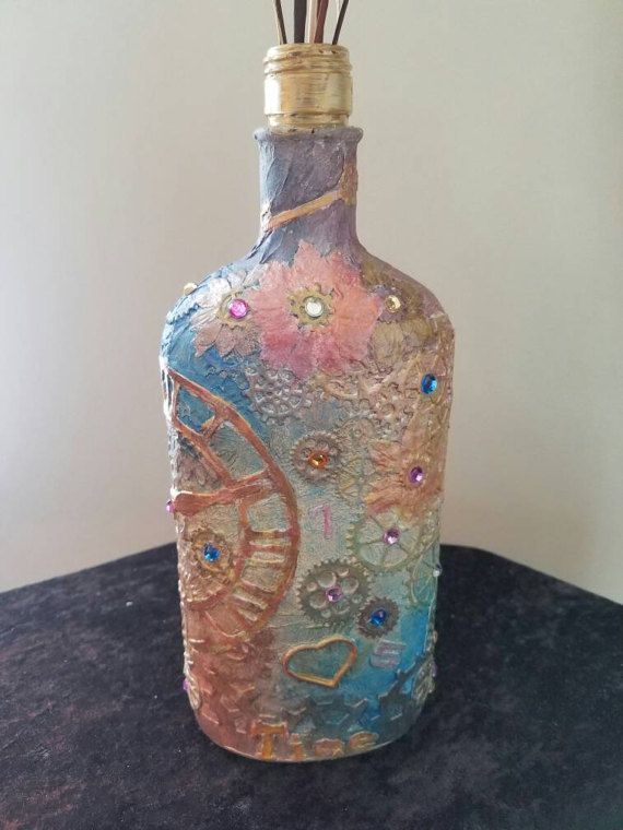 Steampunk Altered Bottle of Time by Gigglesandfamily on Etsy