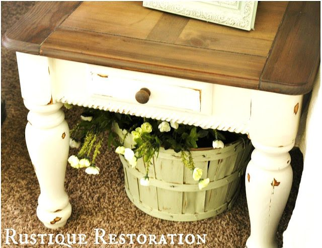 Rustique Restoration: Old End Table, New Look! thinking about doing this to my coffee table..