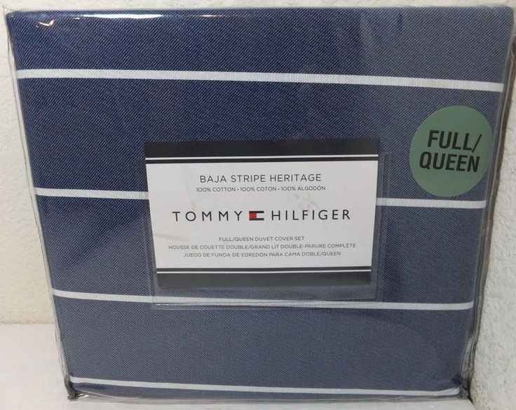 "NEW Tommy Hilfiger Full/Queen Duvet Cover Set ""Baja Stripe Heritage"" Navy /White #TommyHilfiger"
