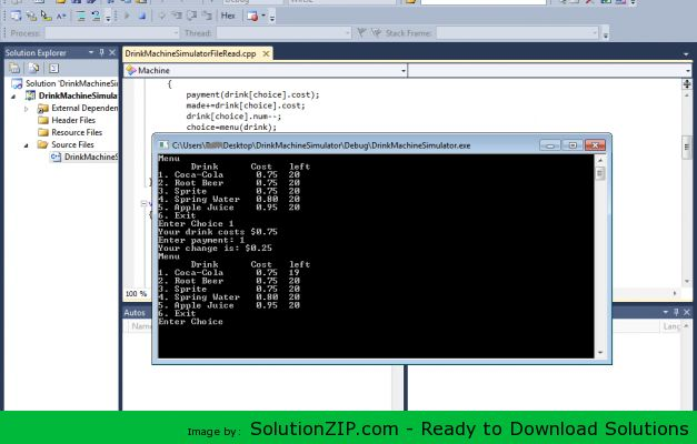 DL: http://solutionzip.com/downloads/drink-machine-simulator-c/ The purpose of this exercise is to give you practice with abstract data types, namely structures and arrays of structures. Write a program that simulates a soft drink machine. The program should use a structure that stores the following data: • Drink Name • Drink Cost • Number of Drinks in Machine The program should create an array of five structures. The elements should be initialized with the following data: