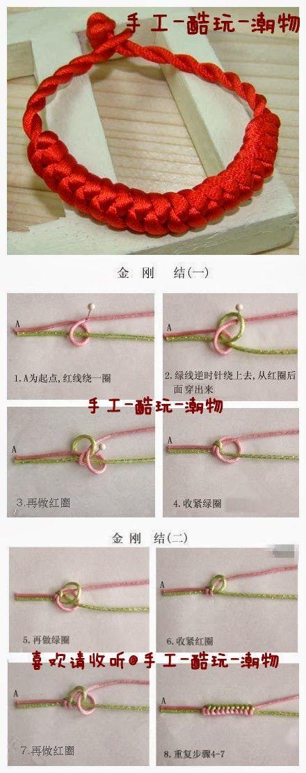 DIY Red Diamond Knot Bracelet