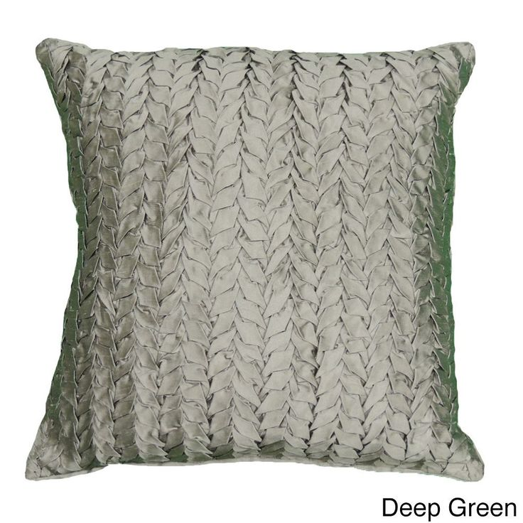 Cottage Home Gianna Quilted 18-inch Silk Decorative Pillow (Deep Green), Silver, Size 18 x 18 (Cotton, Solid Color)