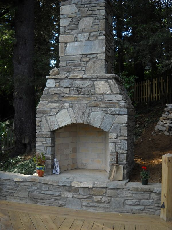 outdoor fireplaces off of chimneys from indoor fireplaces | This outdoor fireplace in Boone, NC makes this deck feel more like an ...