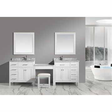 """Design Element London Two 36"""" Vanities with a Make-up Table - White 