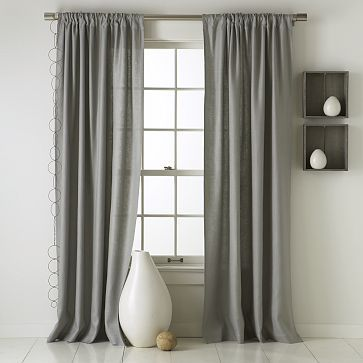 """Linen Cotton Window Panel – Platinum #WestElm comes in 124""""! and I'd be able to paint on horizontal stripes..."""