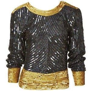 Preowned Yves Saint Laurent Bugle Beaded And Sequined Top
