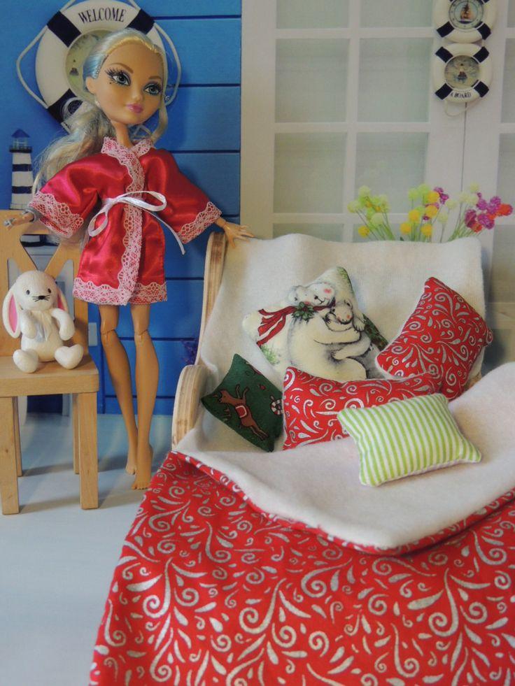 Christmas bedding set for dolls Ever After High, Bratz, Pullip, Monster High, Fashion Royalty, Barbie, Blythe, BJD by Dress4bjd on Etsy