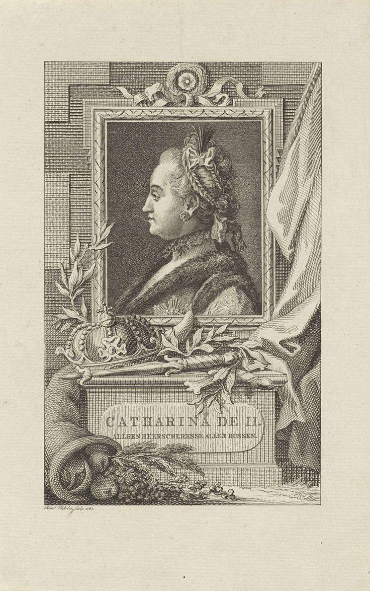 Reinier Vinkeles | Portret van Catharina de Grote, Reinier Vinkeles, 1787 | Portret van Catharina de Grote, met voor het portret tsarenkroon en scepter.