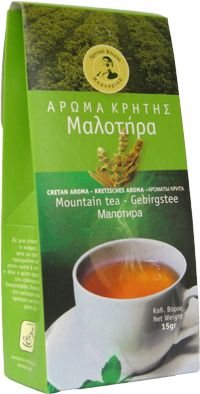 Siderites syriaca- Maletira  Maletira is known as mountain tea and it is a bush that cultivated in big altitude in the mountains of Western Crete.  It does not irritate the nervous system and thus does not cause insomnia, it has beneficial effect in our respiratory and peptic system.