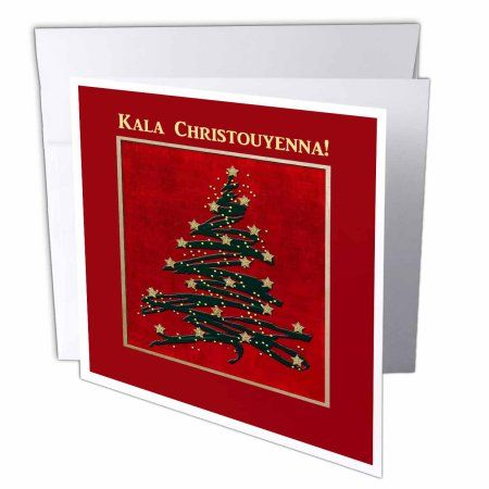 3dRose Kala Christouyenna, Merry Christmas in Greek, Christmas Tree on Red , Greeting Cards, 6 x 6 inches, set of 6