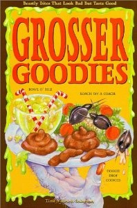 """""""Grosser Goodies""""....written by Tina-Villicich-Solomon. Culinary delights such as Cat Food Pate on Toast, Dustpan Pudding, and Amputated Tongues, this uniquely repulsive recipe book """"feeds"""" into youngsters' fascination with all things gross, showing them how to bake truly disgusting-looking treats that taste positively delicious! Loaded with cooking basics and helpful kitchen hints. While gross enough for kids, the healthful recipes will please parents too."""
