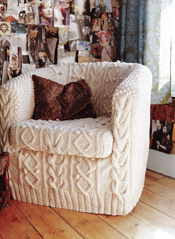 Slip Cover Aran chair pattern PDF Instant Download Cable Cabin slip cover cushion chair cover knitting supplies epsteam knitting pattern pdf