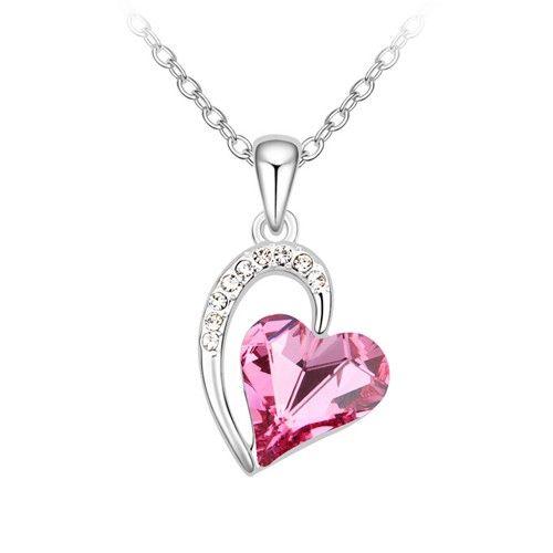 Rózsaszín kristályszív ezüstszínben nyaklánc I FeminaShop.hu