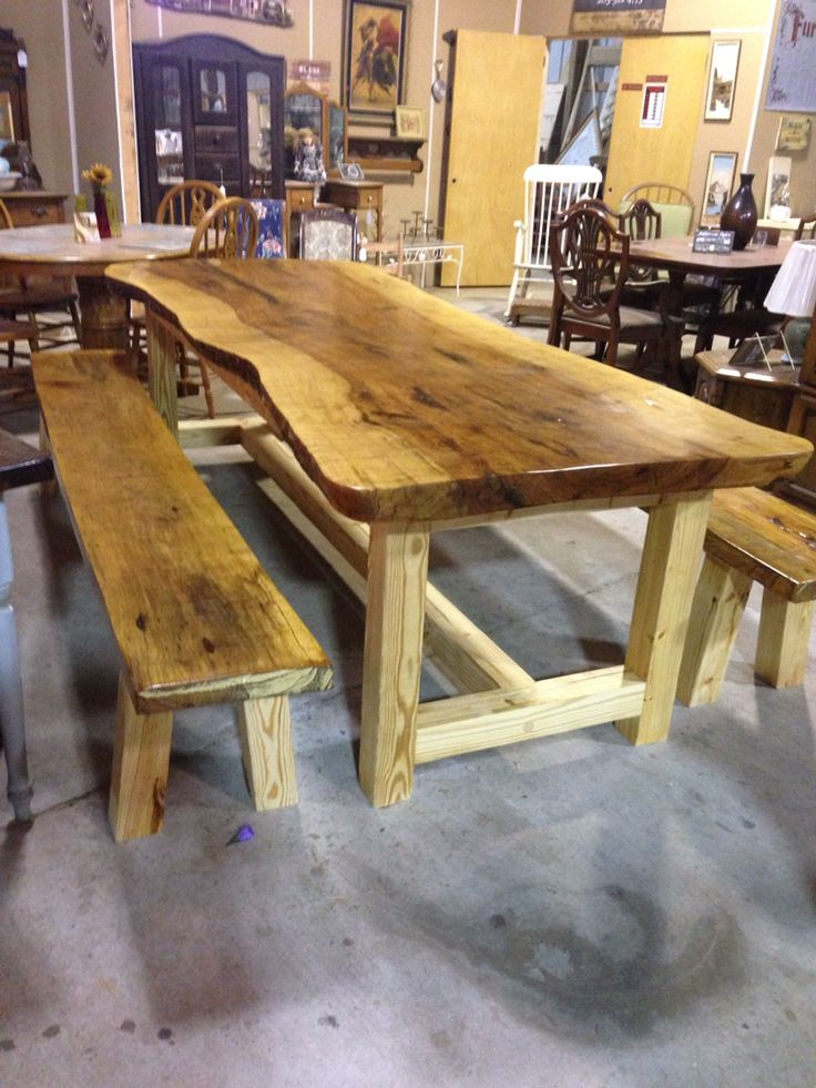 Amazing 9 Ft Farm Table Made From Rough Cut Pecan Slab. By Watts Woodworking, Jasper