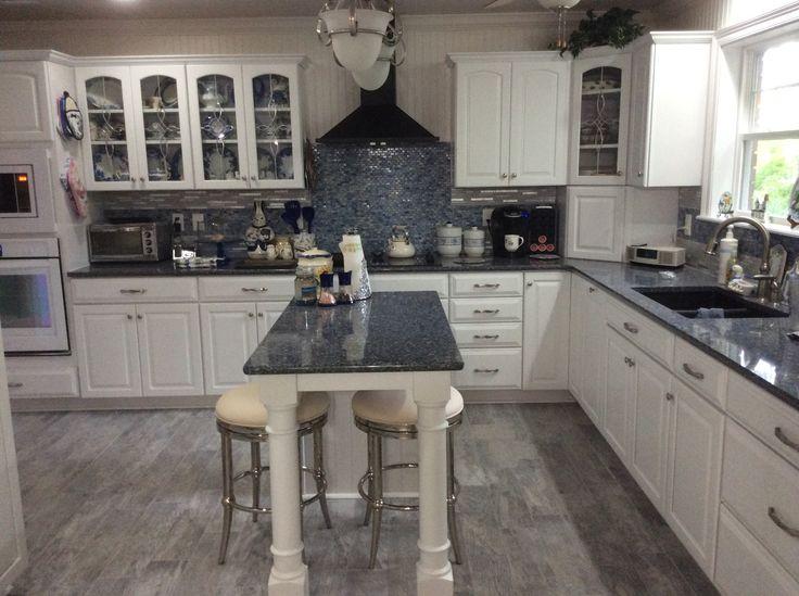 Blue And White Kitchen Cambria Quartz Countertop Parys Kraft Maid Cabinets Home Depot