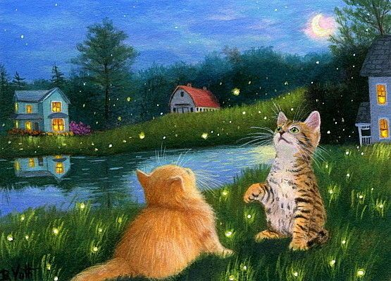 Kittens cat fireflies summer pasture house moon landscape ...