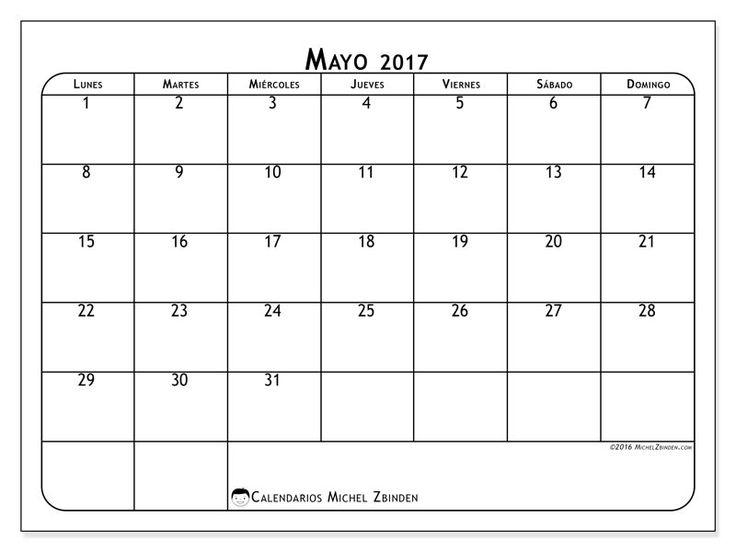 Gratis! Calendarios para mayo 2017 para imprimir