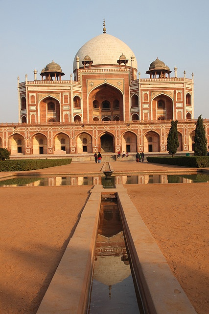 Humayuns tomb reflected in a waterway in its Mughal garden - Delhi, India