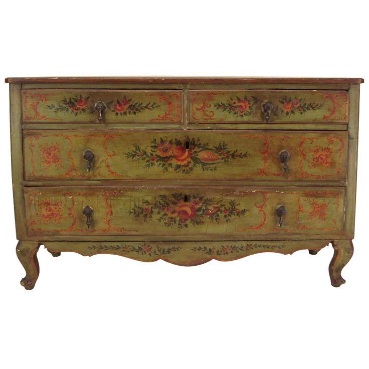 18th c.Italian Venetian Painted Commode or chest of Drawers | From a unique collection of antique and modern commodes and chests of drawers at http://www.1stdibs.com/furniture/storage-case-pieces/commodes-chests-of-drawers/
