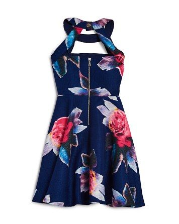 Miss Behave Girls' Floral Halter Dress - Sizes S-XL