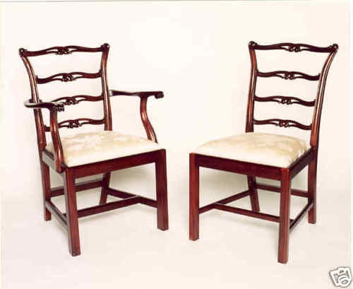 Ladderback chippendale dining chairs set of 8 ebay