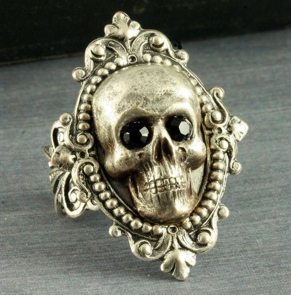 Silver Skull Ring Halloween Ring Gothic Ring Neo Victorian Skull Ring Goth Black Crystal Skeleton Filigree Adjustable Halloween