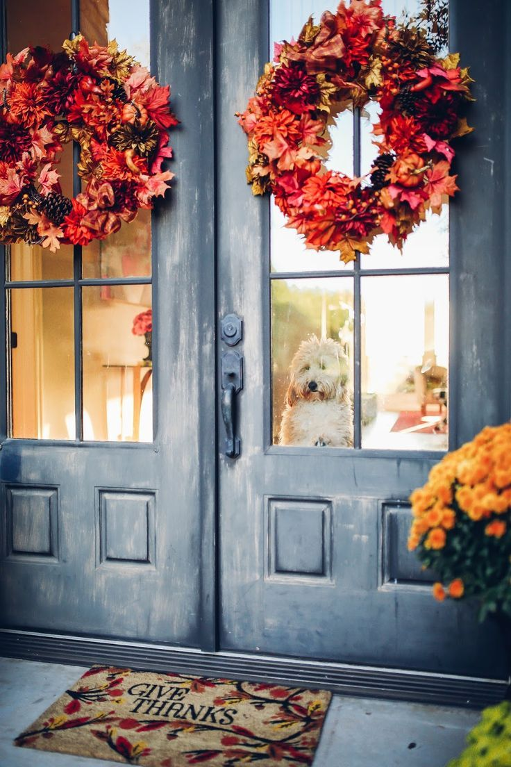 86 best decorating for fall images on pinterest la la la the sweetest thing our fall front porch decor great doormat kristyandbryce Images