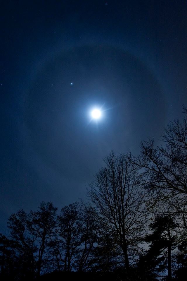 This one is from Denise Talley in Lee's Summit, Missouri.  It's the moon and Jupiter, surrounded by a lunar halo, on the night of January 20, 2013