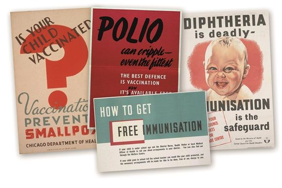 We cannot allow freedom of choice to endanger the lives of whole populations, so Governments need to step up enforcement of vaccinations. In the image, vaccination posters from the 1950s
