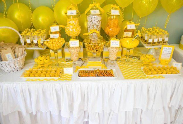 Yellow wedding candy buffet