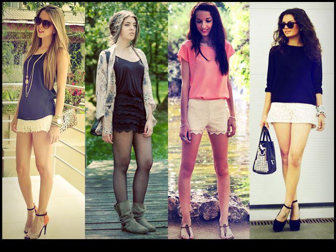 shorts de encaje outfits - Buscar con Google