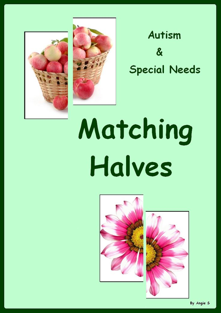 Matching Halves- a great activity for young children as well as for students with autism and special needs. For more resources follow https://www.pinterest.com/angelajuvic/autism-special-education-resources-angie-s-tpt-sto/