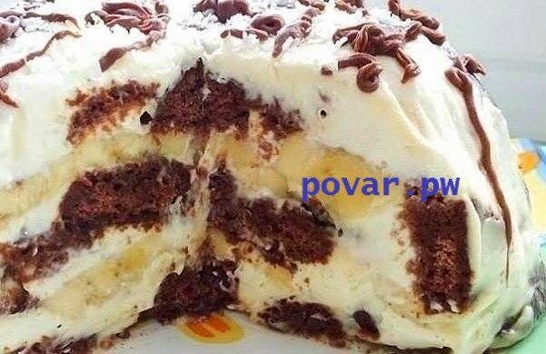 Это просто неописуемо вкусный тортик! Всем советую  Ингредиенты: пряники шоколадные - 600 грамм сметана - 600 грамм (20-30%) сахарная пудра - 100 грамм бананы - 2 штуки грецкие орехи кокосовая стружка шоколад  Приготовление: Для приготовления торта из пряников с бананами необходимо пряники разрезать вдоль пополам, бананы нарезать кружками, сметану смешать с сахарной пудрой, орехи покрошить не очень мелко.  Миску нужно выстелить пищевой плёнкой, чтобы края свисали. Ломтики пряника нужно…