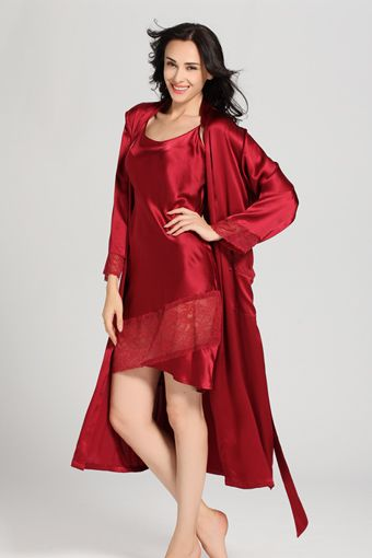 22 Momme Flowing Lace Silk #Nightgown & #Robe Set