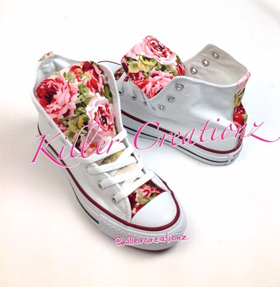 Custom Floral High Top Converse made to order by KillerCreationz