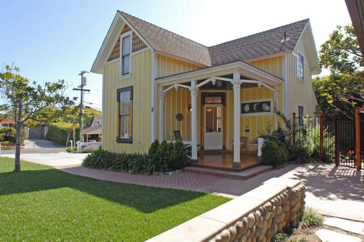 Yellow cottage cottages and yellow on pinterest for Tiny house pictures and plans san diego
