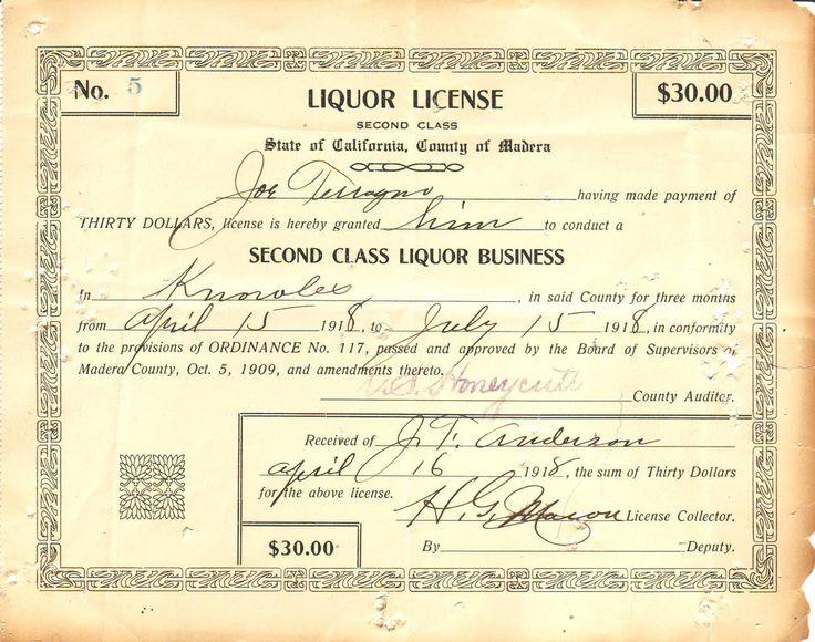 California liquor licence1918 liquor license wine and